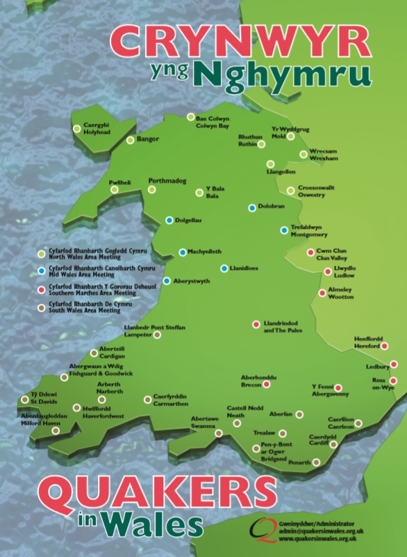 Map of Wales showing where Quakers meet